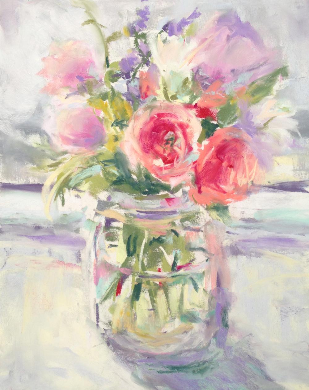 Little Bouquet  pastel on paper, 10x12. Available