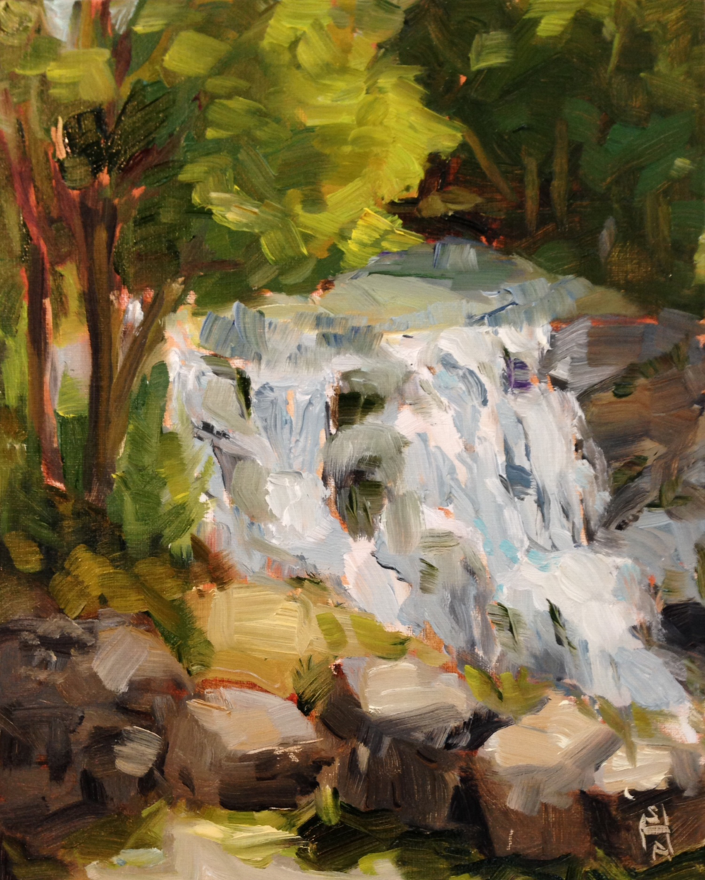 Top of the Falls  Oil on Board, 9x12, private collection