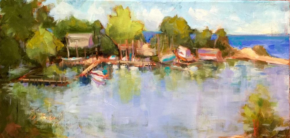 """Barcelona Harbor, plein air, 10x20"""", oil on canvas, available"""