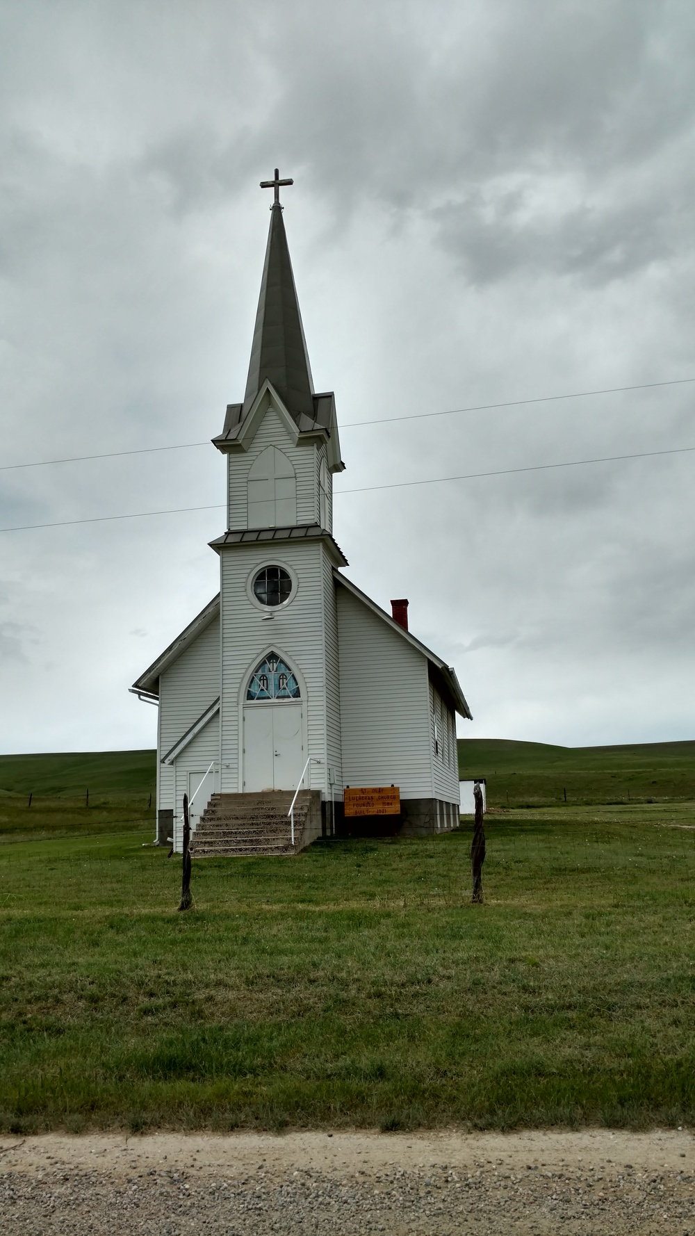 St. Olaf Lutheran Church sits in excellent condition on a windswept plateau between Absarokee and Roberts. The strong Norwegian community that settled the area in the early 1900s built the church, and it is still used for events today.