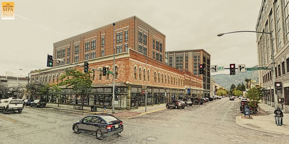 MPA's rendering of the proposed hotel saves the majority of the Higgins and Front street facade and has a less imposing street presence.
