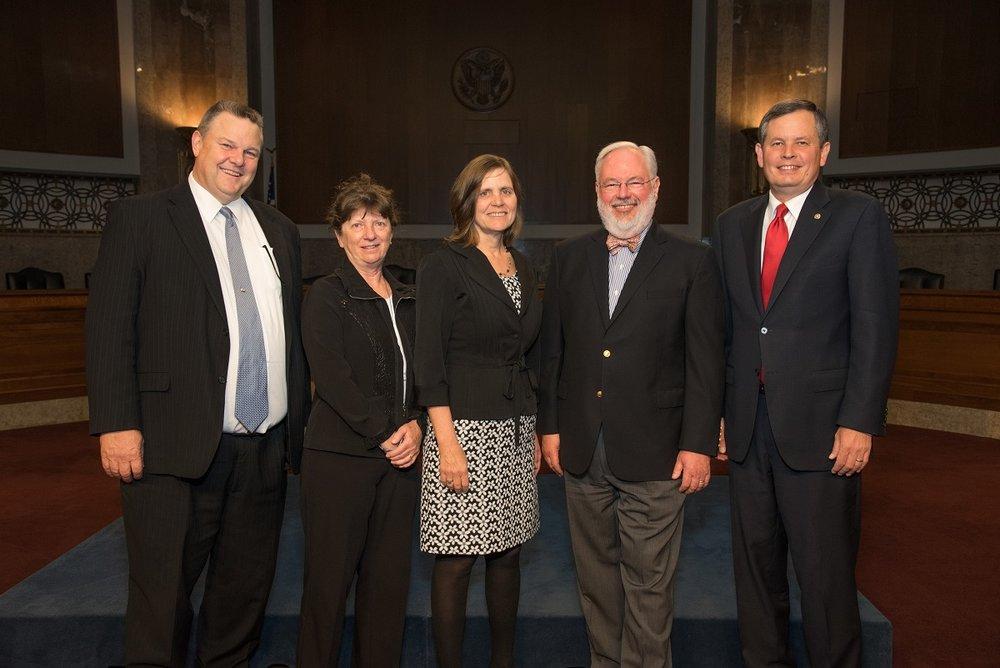 US Senator Jon Tester; MPA Board Member Mary Murphy; MPA Director, Chere Jiusto; National Trust For Historic Preservation, Tom Cassidy; US Senator Steve Daines.