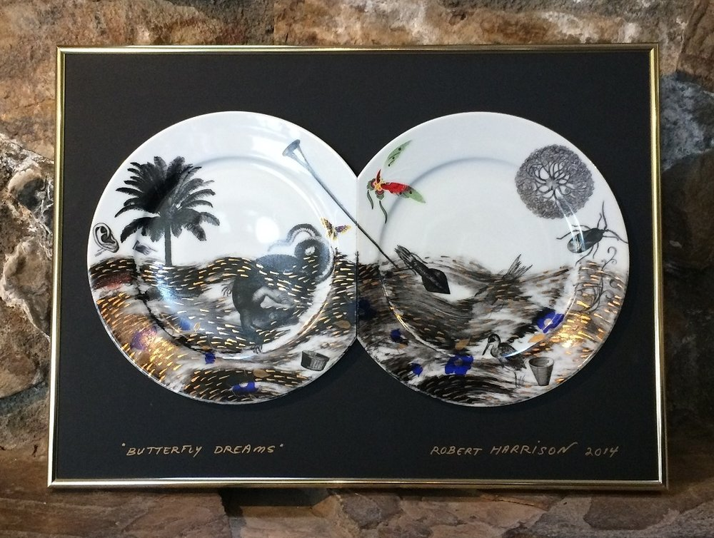 """Robert Harrison, """"Butterfly Dreams"""",handpainted ceramic plates, mounted and framed."""