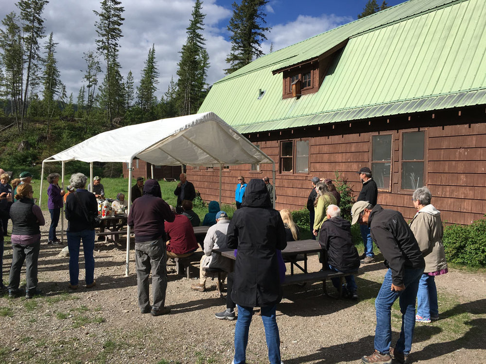The Road Show group at Big Creek also heard from Joyce Baltz of the Glacier Insitute. The Glacier Institute operates the Big Creek Outdoor Education Center. The Big Creek campus includes two bunkhouses with bathrooms, a main dining hall (which can accommodate up to forty people), a meeting room, a large classroom, a twenty foot tepee and additional teaching space. Big Creek runs on a generator for electricity and has no public phone service, although a radio phone is available for emergency calls.  Since 1988, Big Creek has been home to our Youth Science Adventure Camps, Discovery School and several adult field courses which operates under a special use permit with the Flathead National Forest.