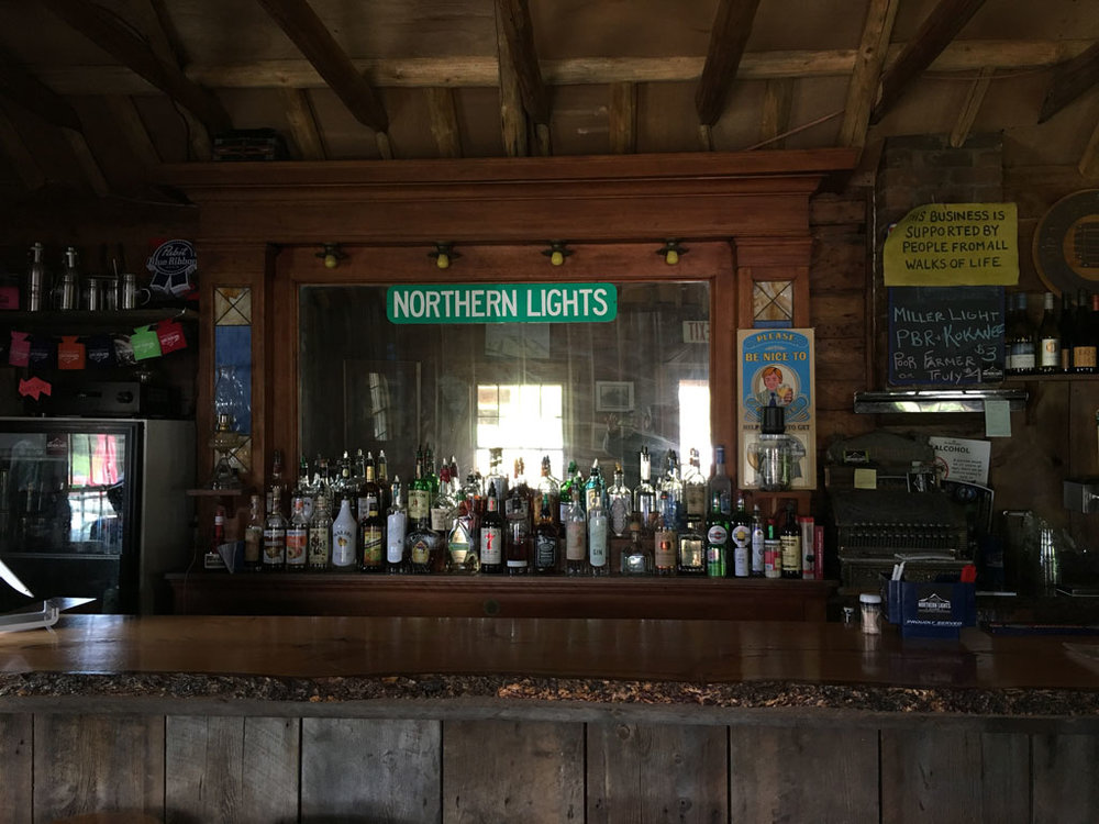The simple back bar inside the North Lights Saloon.