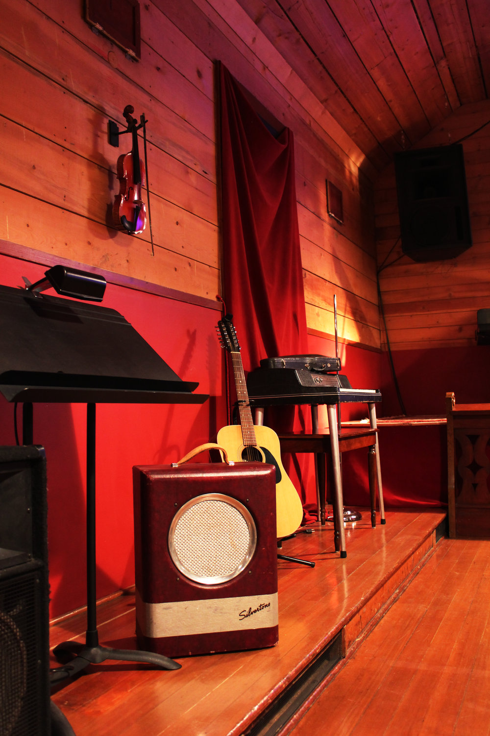 All kinds of interesting musical treasures abound inside this remodeled Grange hall.