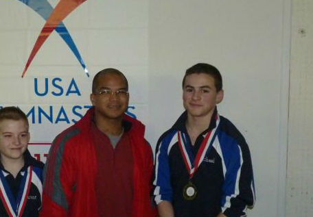 .Mike Acevedo (Right) Trampoline and Tumbling team prior to World Cup Odyssey. 2012(?).
