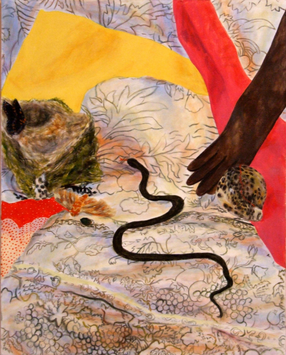 The day Lois Dodd brought me a dead snake to paint. 2006 Oil on Canvas