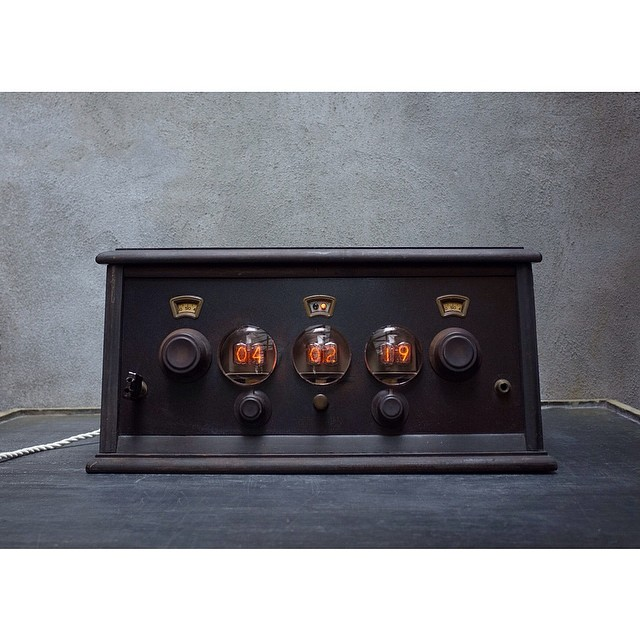 check out Hecho Inc's Nixie #Clock #time #vacuum #tubes #vintage #radio #wood #new #old #electronics #auction #brc #charity #auction #design #fabrication #donation #photooftheday #boweryresidentscommittee