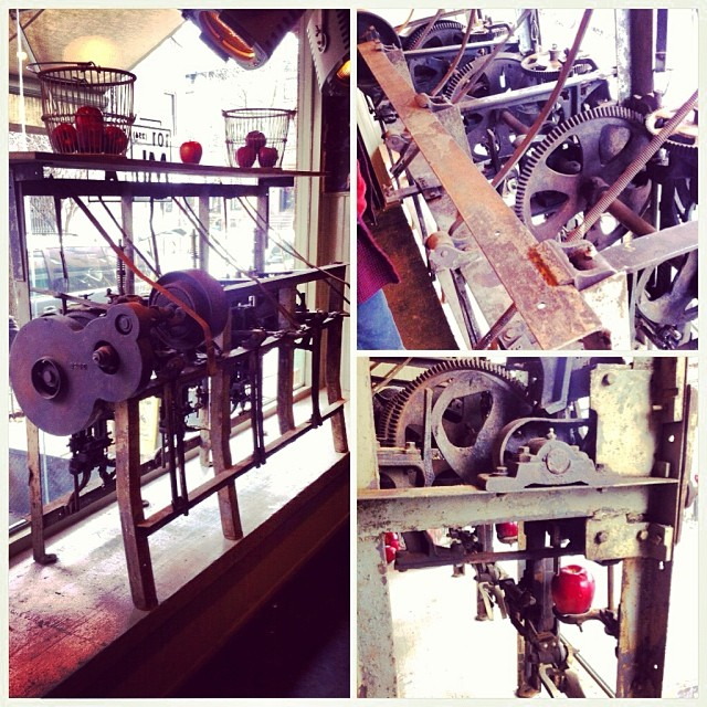 Apple coring and peeling machine from early 1900s - it still works! #vintage #design #sourcing #brooklyn