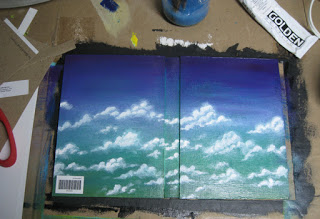 And here is the cover that I created out of a faux canvas panel and a piece of canvas that is glued to the inside.