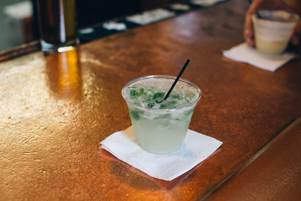 The Mojito (made with leaves from the spearmint plant growing in a pot on behind the bar)