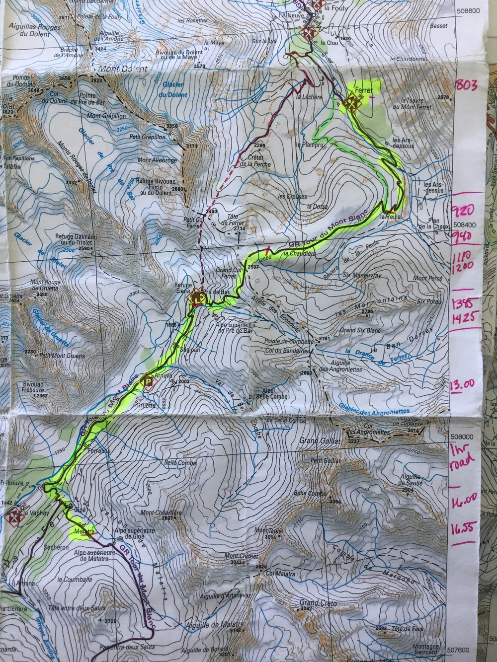Our trail map. I copied all of our days into reasonable sizes, this also helps to keep the original map nice. You can see my marks on the side, this is my time tracking.
