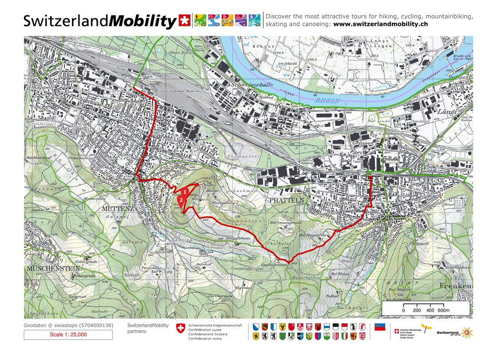 Map of hike from Muttenz to Pratteln, Switzerland