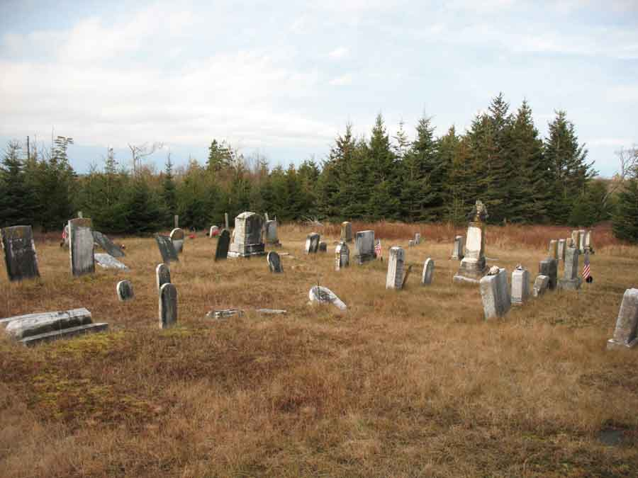 View of the Stanley Cemetery on Bulger Hill, Great Cranberry Island, Maine (December 2013)