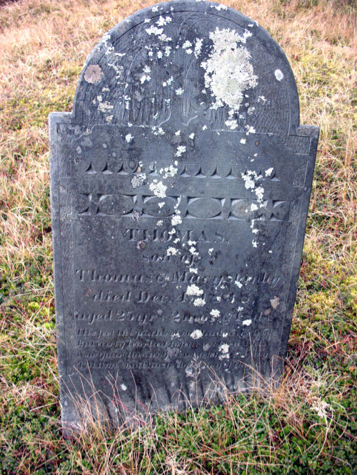 Thomas Stanley III, 1838  - Willow and urn marker;  first burial in the Stanley Cemetery on Bulger Hill, Great Cranberry Island