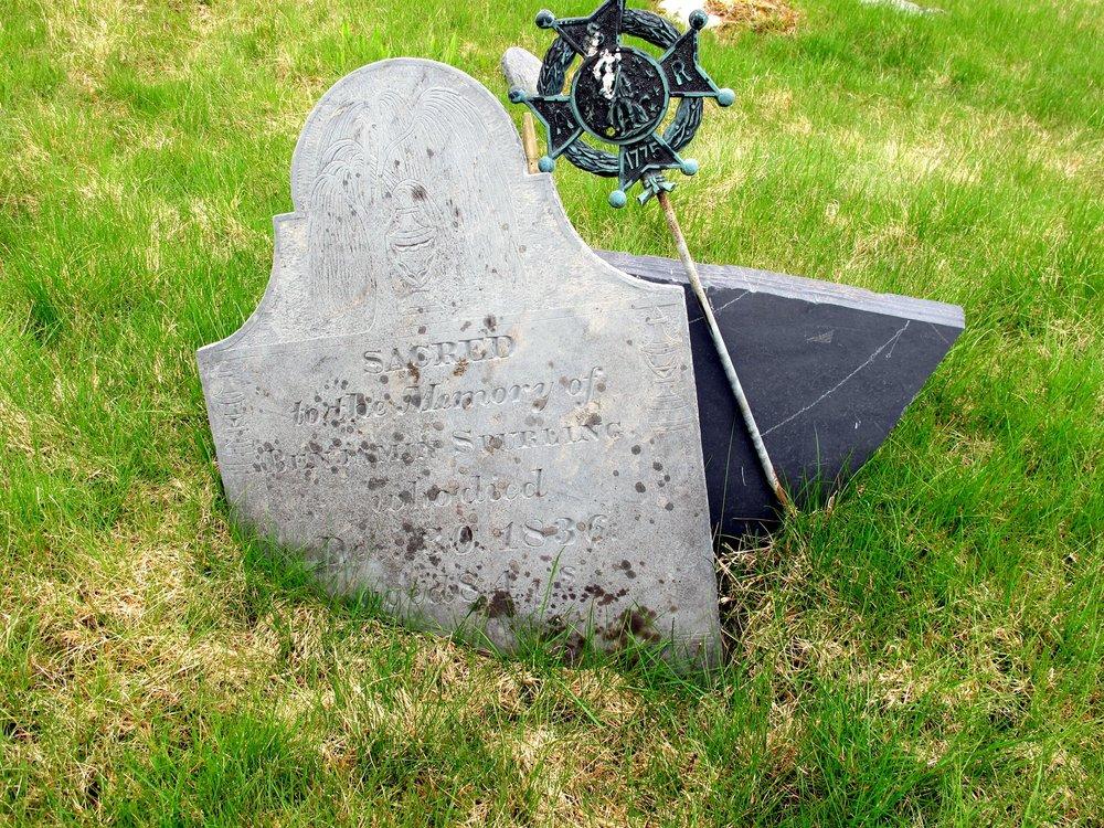 Bejamin Spurling, Sr.'s fractured headstone (Row3E) May 2016 (Photo: Robert Deforrest Maine Coast Heritage Trust)
