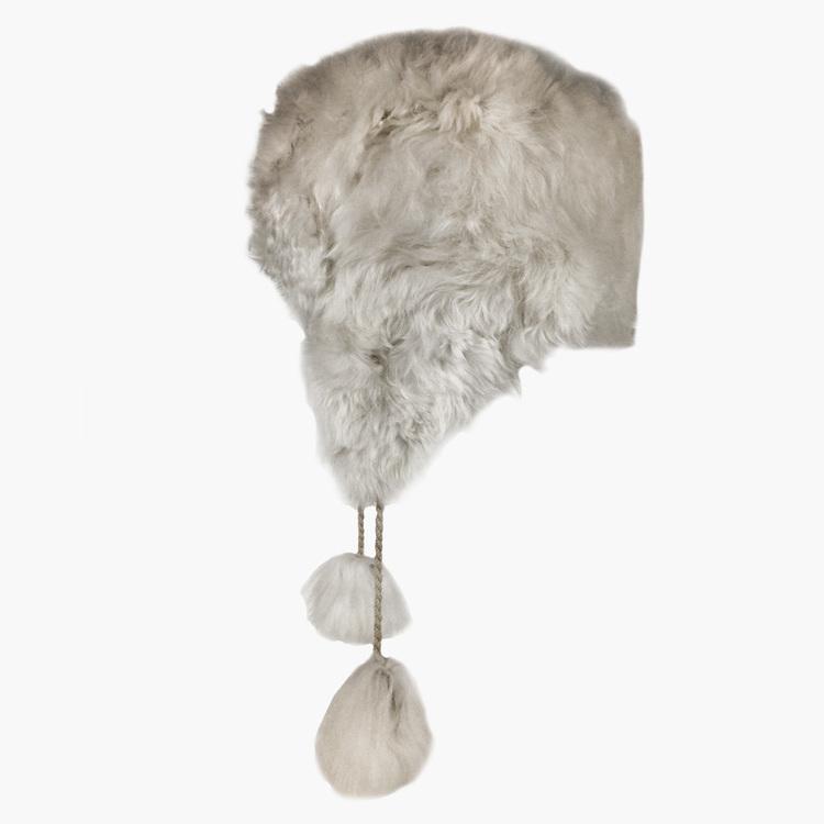 9df431dbdde White Alpaca Aviator Fur Hat