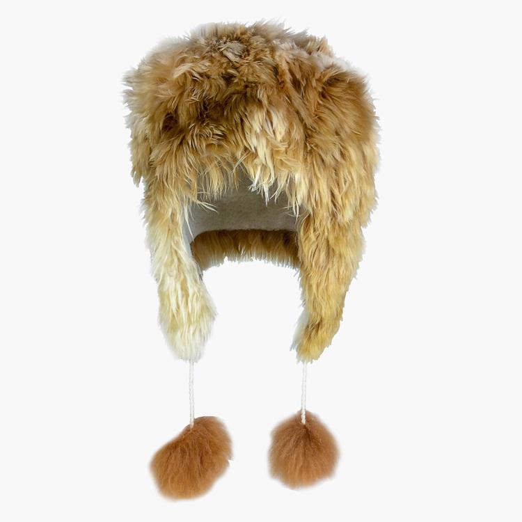 b343ff6863f Light Brown Alpaca Aviator Fur Hat