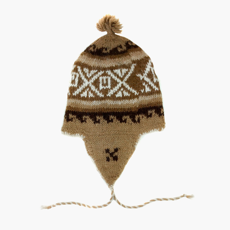 dc1327a6964 Light Brown 100% Alpaca Wool Hand Knitted Peruvian Hat
