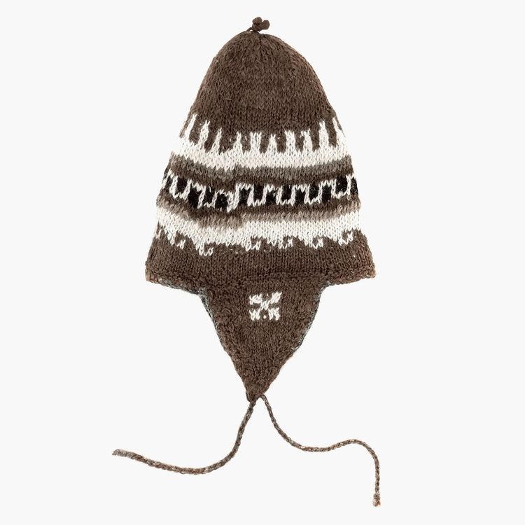 9aaa2801c0b Brown 100% Alpaca Wool Hand Knitted Peruvian Hat