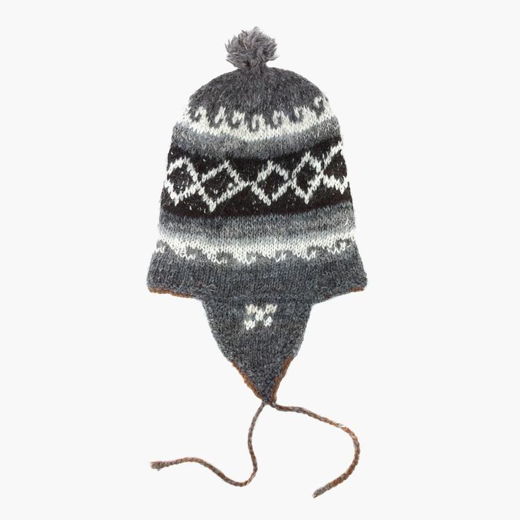 5bc329755a4 Dark Grey 100% Alpaca Wool Hand Knitted Peruvian Hat