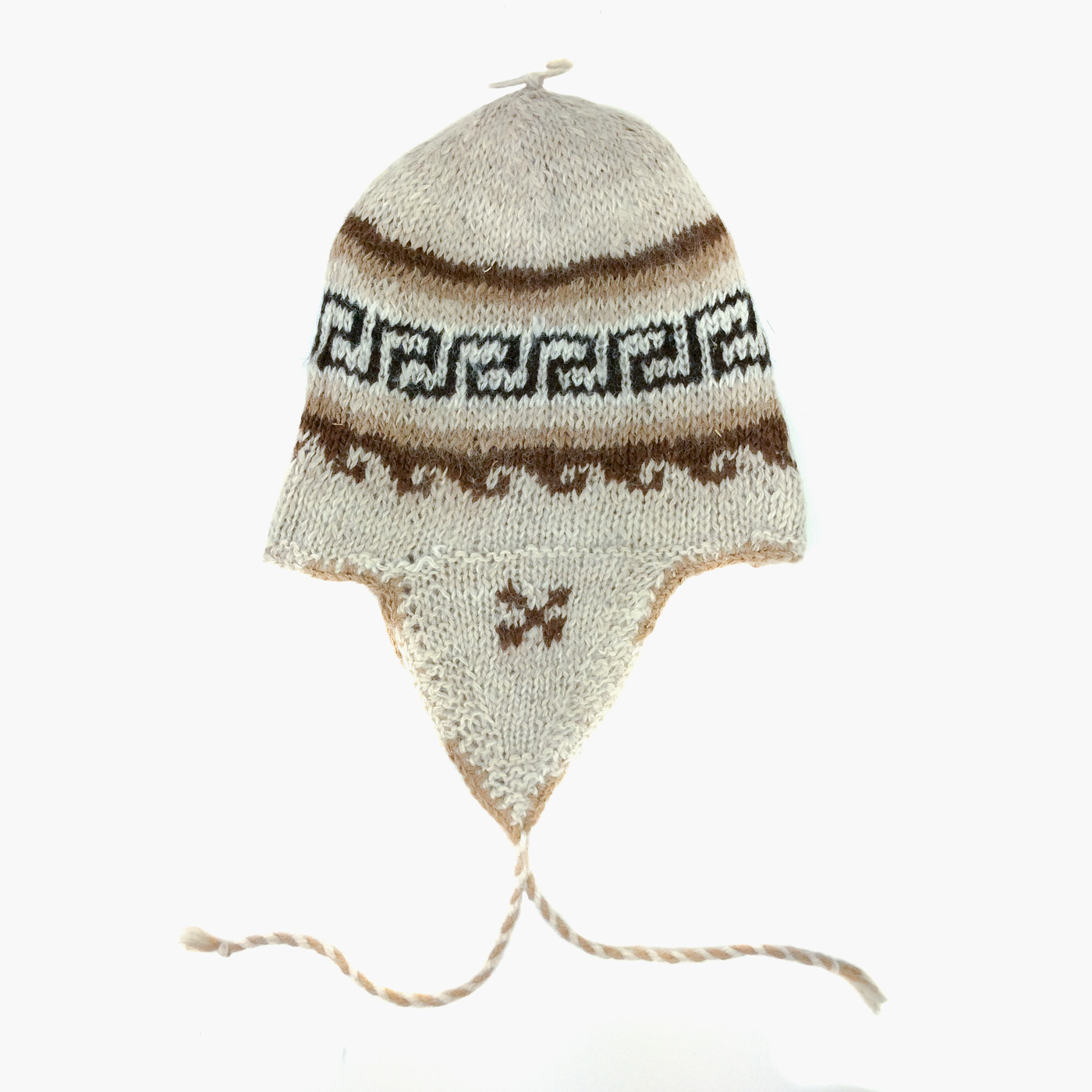 718de1842d6 White 100% Alpaca Wool Hand Knitted Peruvian Hat