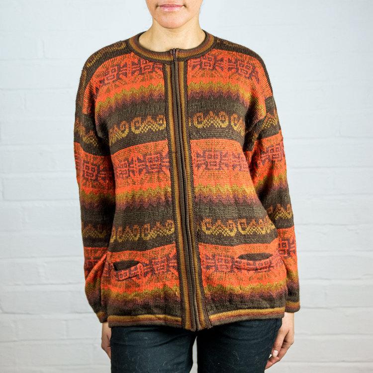 ff0d80ff5a2f Alpaca Wool Orange Cardigan  Inca Warm Festive  — Inkita