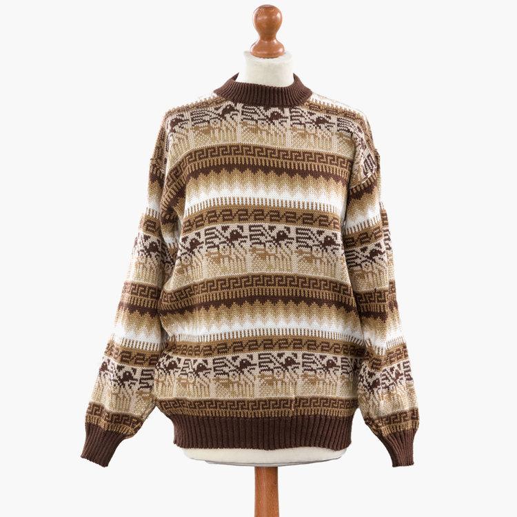 4d0cde8956db17 Alpaca Wool Light Brown Jumper - 'Inca Warm Festive' — Inkita