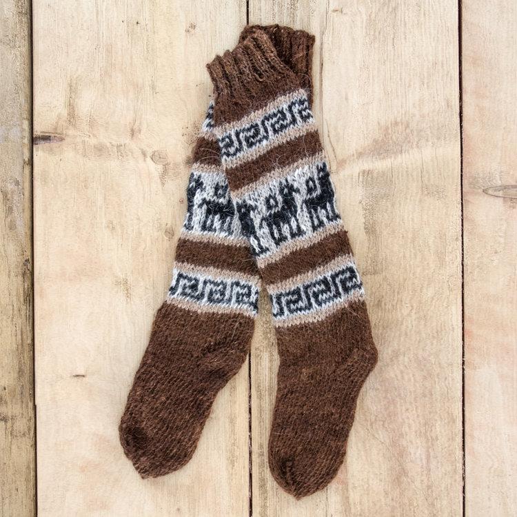 2d23e414c57c2 Brown 100% Alpaca Wool Hand Knitted Socks, 'Andean Friendship' — Inkita