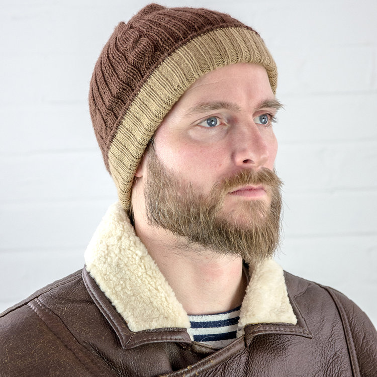 Mens Alpaca Reversible Brown Hat bc7c03917e0