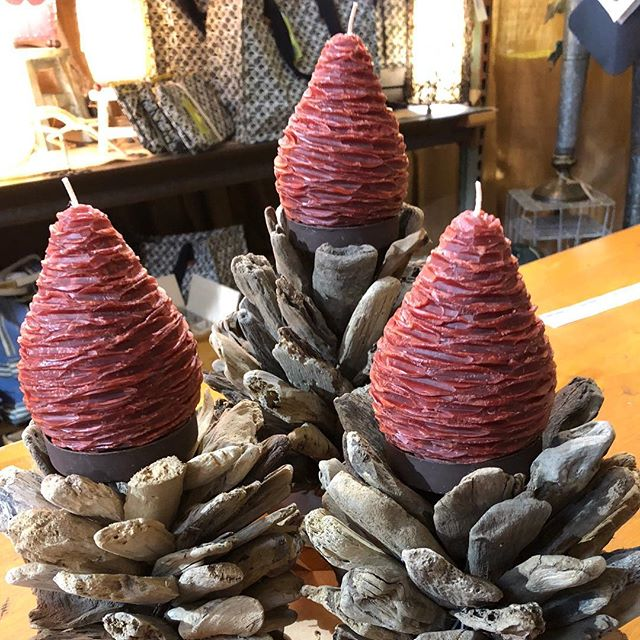 Handcrafted @vancekitira Pinecone Candles have arrived! This is a great way to #decorateforfall Many colors and sizes.  #fairtrade #shoplocalbham @pepperplacebham