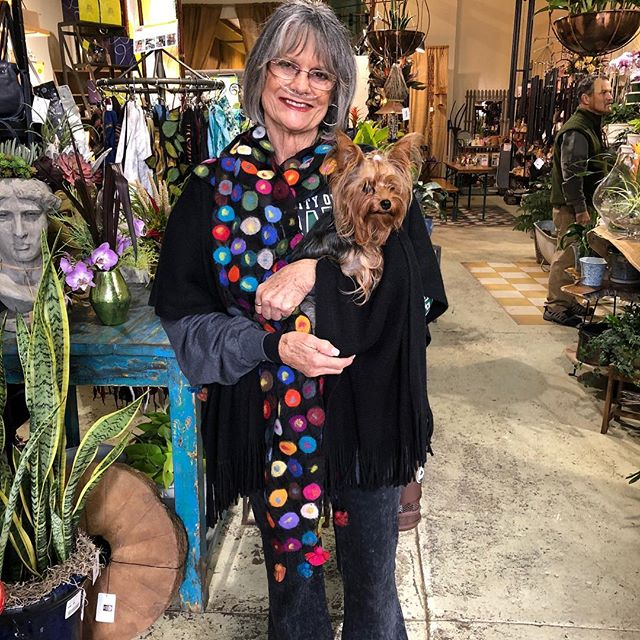 Mae & Precious...staying warm on this chilly morning in @shoppomegranatemoon #fairtrade scarf.  @pepperplacebham #shoplocal #fairtradefashion #handmade #shopsmall