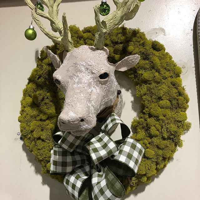 #reindeermoss wreath, Scandinavian Stag and a big plaid bow - some of our holiday style. Having fun decorating!  Let us help you with yours! @charliethigpens #shopsmallbham #itsholidayseason #homeandgarden