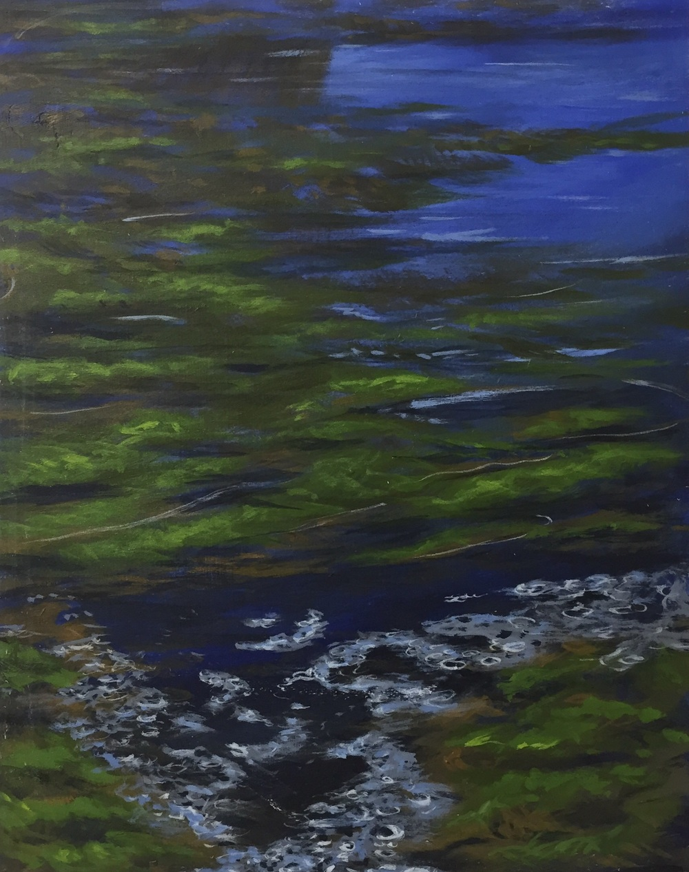 Blue Green Algae, oil over acrylic