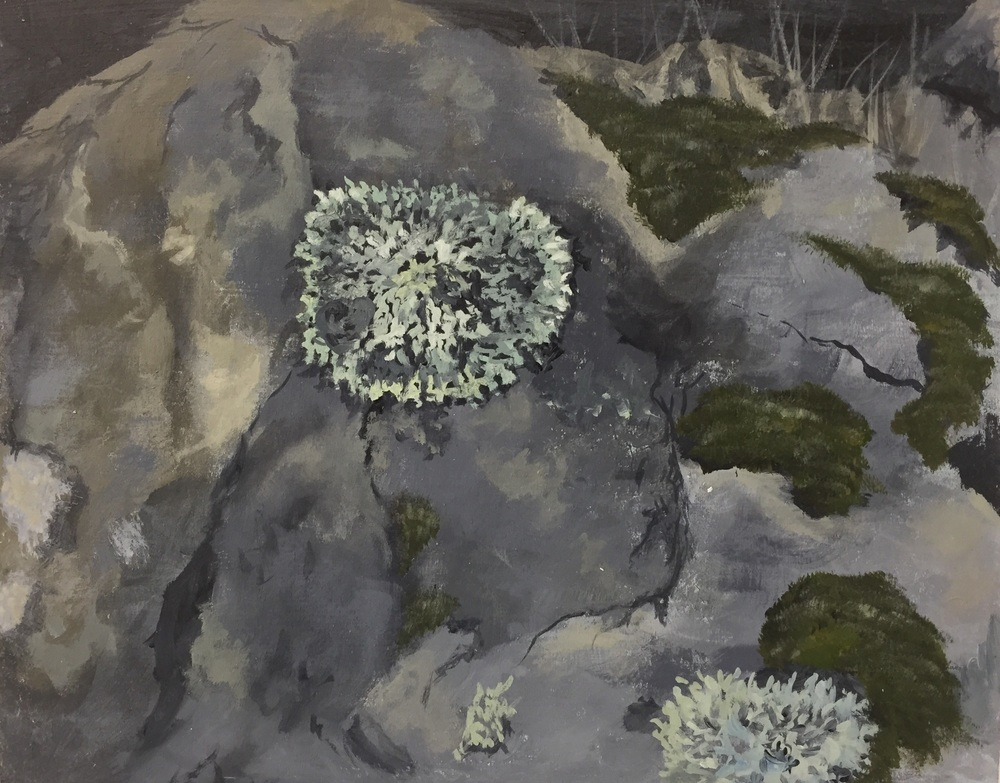 Lichen and Moss, oil over acrylic