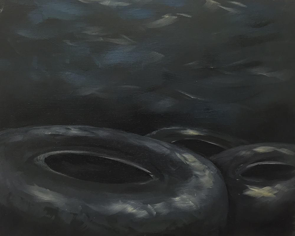 Rubber in the river, oil over acrylic