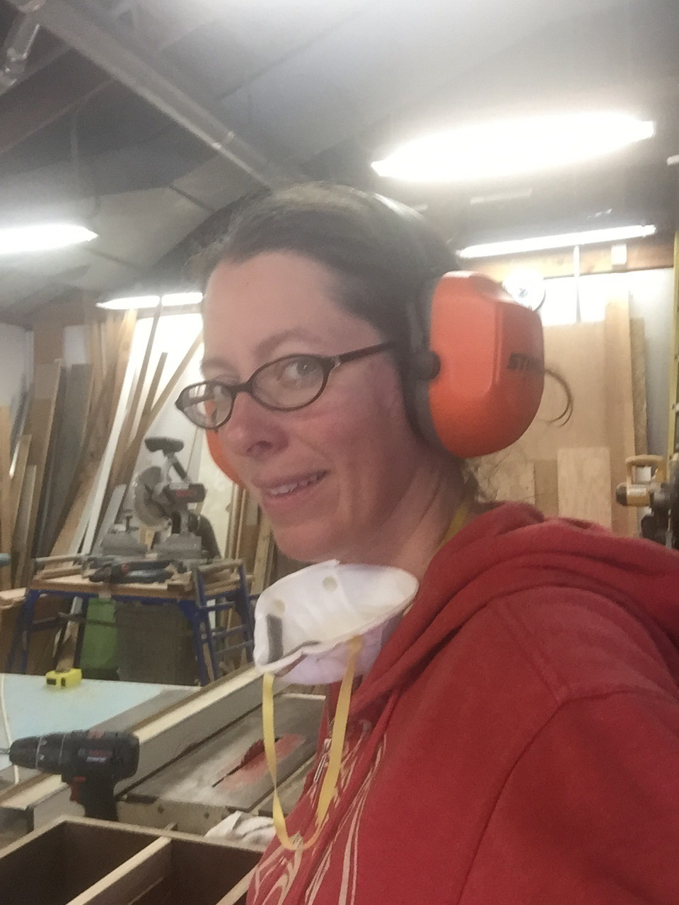 In the wood shop
