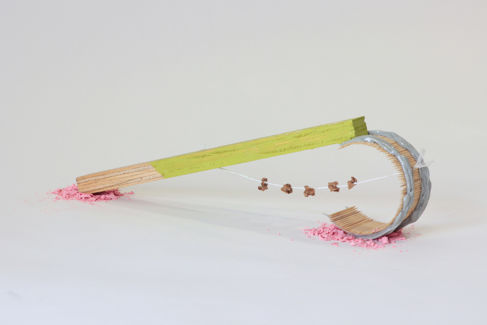 platform // on the ocean, 2014 plywood, paint, toothpicks, epoxy, string, cardboard, plaster, pigment, chalk 5 x 10 x 4.5 in
