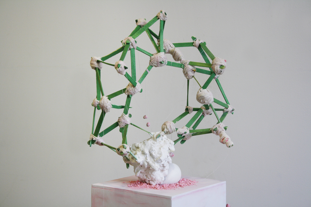 wild combination #1, 2015 popsicle sticks, string, thread, plaster, pigment, chalk, epoxy, 16 x 14 x 8 in
