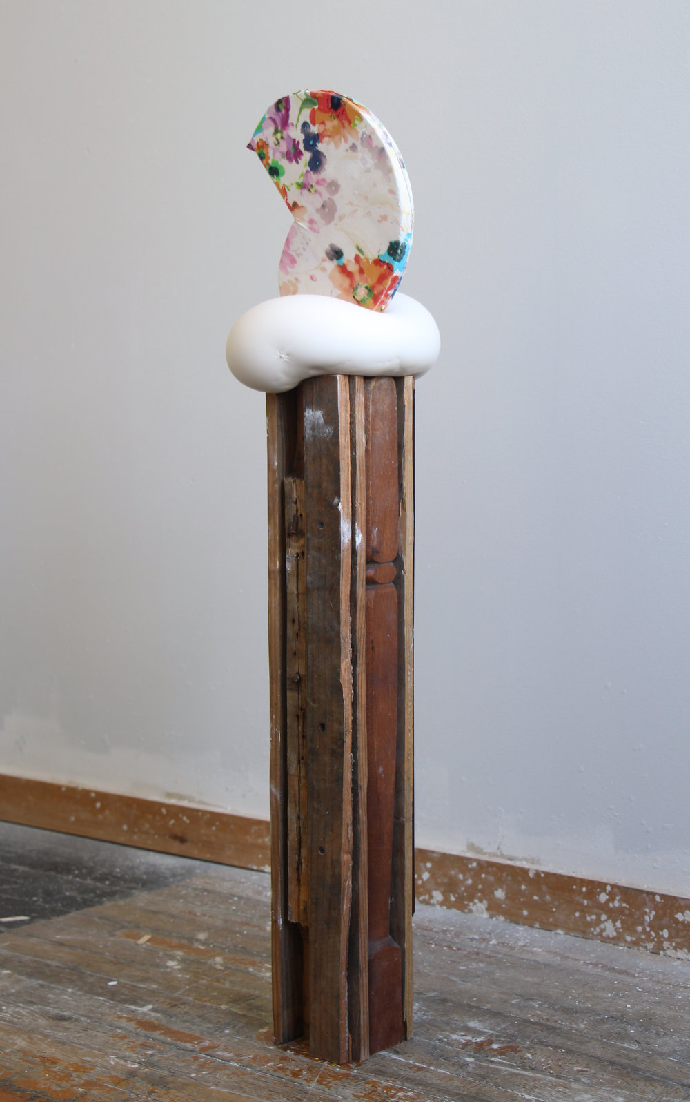 "And as Honeysuckle Is Sweet so Is This Flower Salt, 2016 plaster, fabric, wood 39 x 9 x 9"" (with base)"