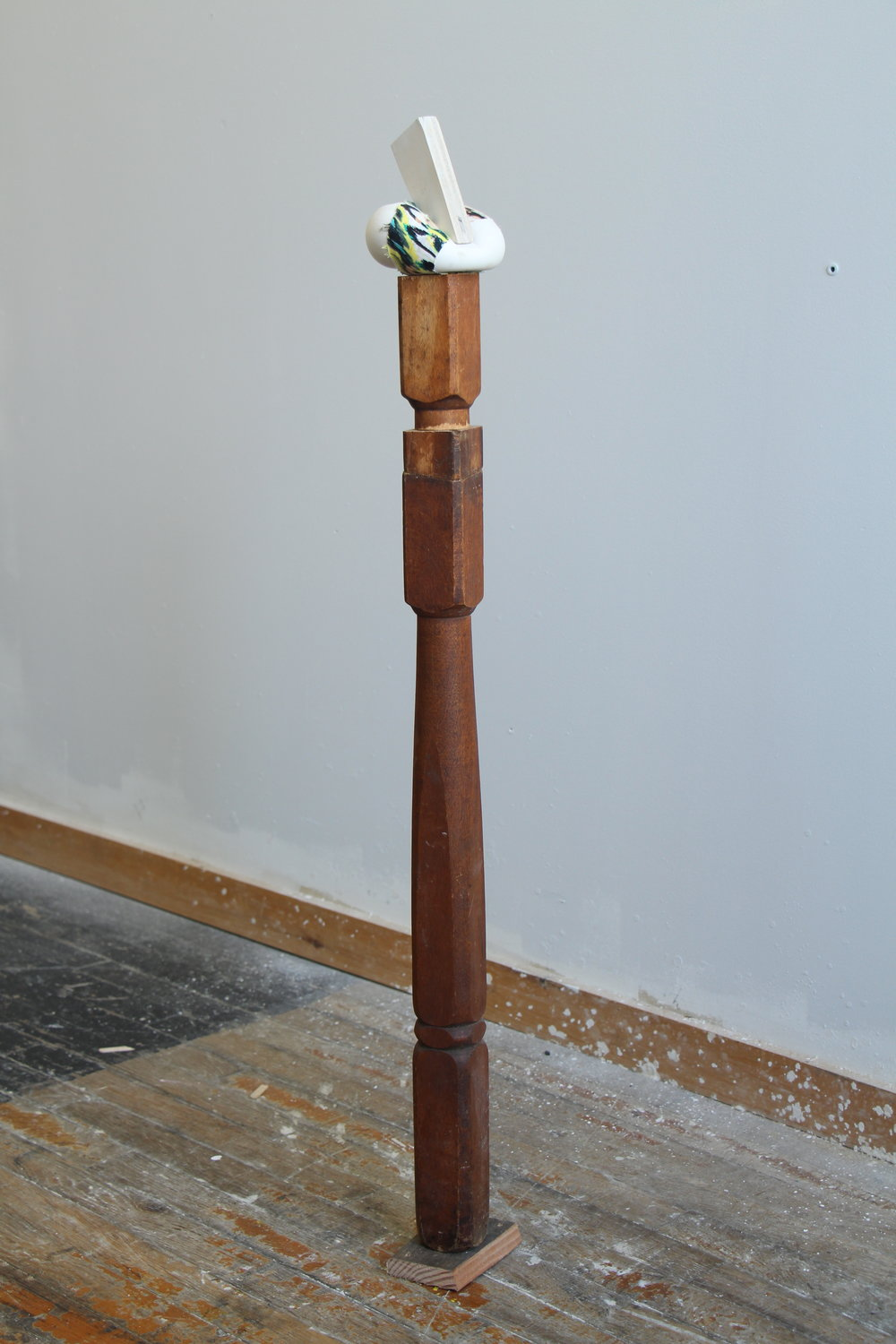 "And as Honeysuckle Is Sweet so Is This Flower Salt, 2016 plaster, fabric, wood 41 x 4 x 5"" (with base)"