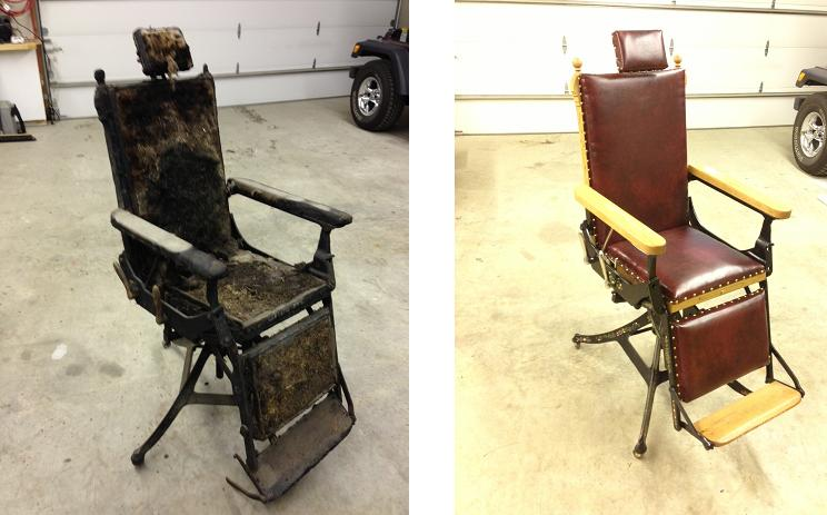 Before and after of reconstructed chair