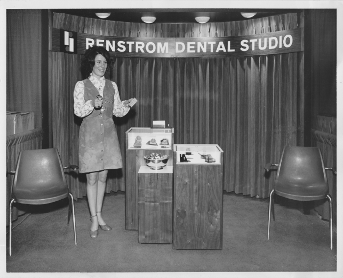 Mary Perkins  attending the Star of the North Dental Convention around 1970. ( Previously Mary Brinkman, sister of Joe Brinkman of Brinkman Dental Art/Marketing. Both Mary and Joe worked at Renstrom Dental Studio in the 1970s),