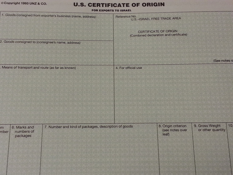 certificate of orgin
