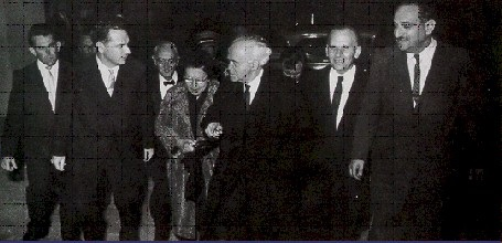 Our founder, Marty Sandler, second from left, with (left to right) Paula Ben-Gurion, David Ben-Gurion, Sam Neeman, and Moshe Sharett.