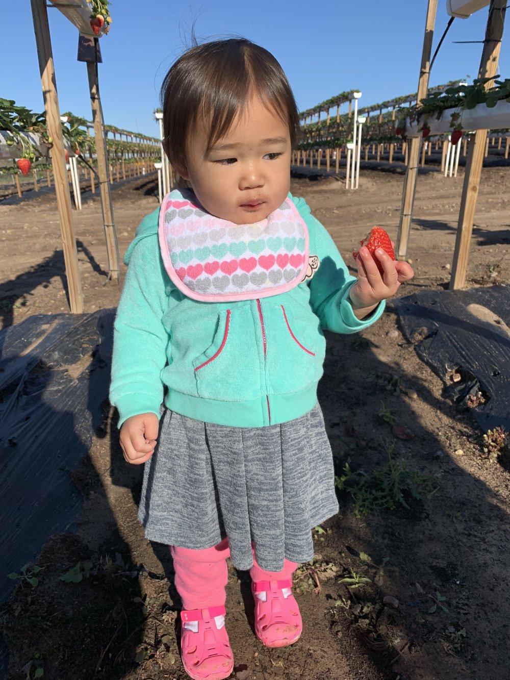 Kaylee eating Strawberry
