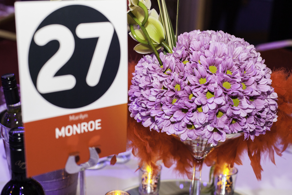 Beautiful flower arrangements adorned all the tables at the Troxy