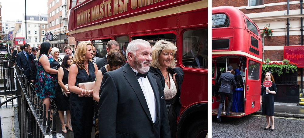Guests of the Post Office awards board an old London Route Master bus.A pioneering design, the Routemaster outlasted several of its replacement types in London, survived the privatisation of the former London Transport bus operators and was used by other operators around the UK. In modern UK public transport bus operation, the old-fashioned features of the standard Routemaster were both praised and criticised. The open platform, while exposed to the elements, allowed boarding and alighting in places other than official stops; and the presence of a  conductor allowed minimal boarding time and optimal security, but with greater labour costs. Despite the retirement of the original version, the Routemaster has retained iconic status, and is considered a  British cultural icon .In 2006, the Routemaster was voted one of Britain's top 10 design icons which included  Concorde , Mini ,, London tube map , World Wide Web and the red telephone box.