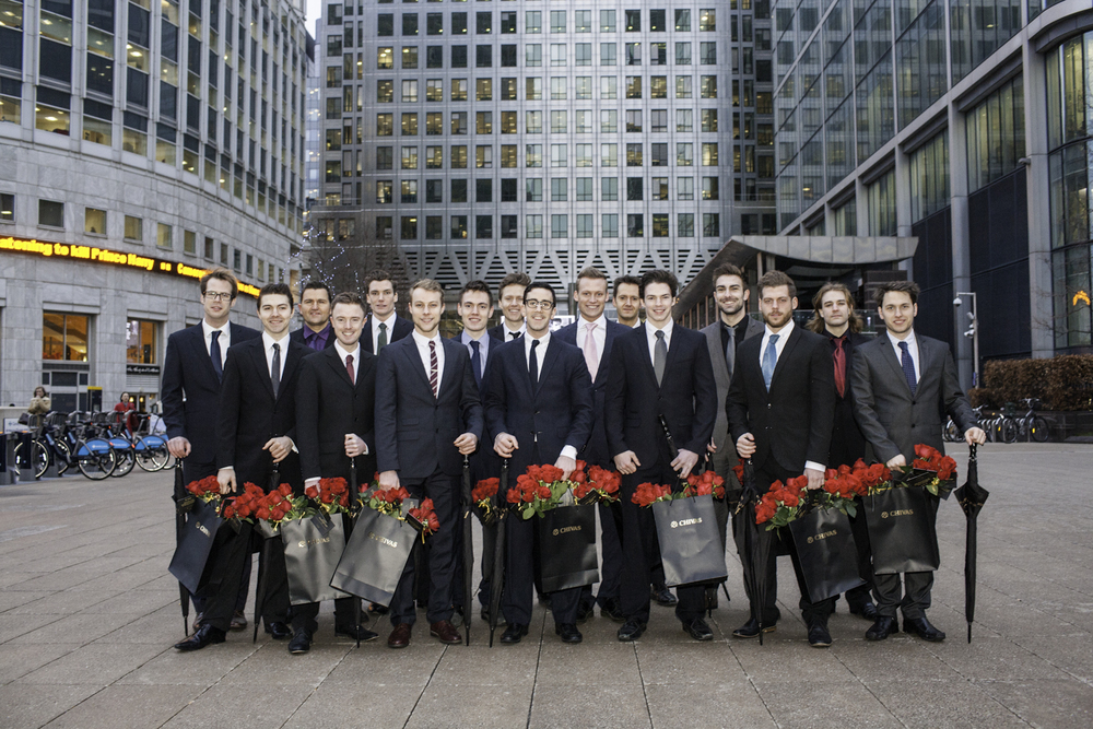 The Chivas whisky team of amorous young men ready with red roses on Valentines day courtesy of Chivas Whisky